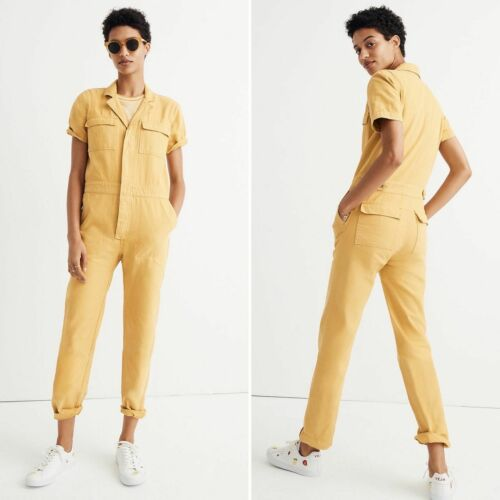 Madewell Short Sleeve Coverall Jumpsuit Yellow XXS