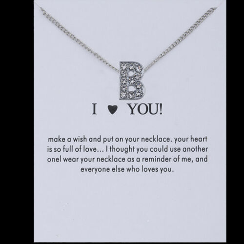 Silver Crystal Rhinestone A-Z Letter Charm Initial Alphabet Pendant Necklace