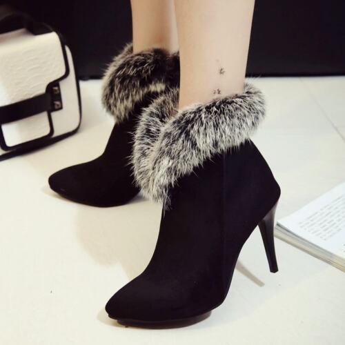 Ladies Fur Pointy Toe Side Zip Stiletto Heels Ankle Boots Party Casual New Shoes