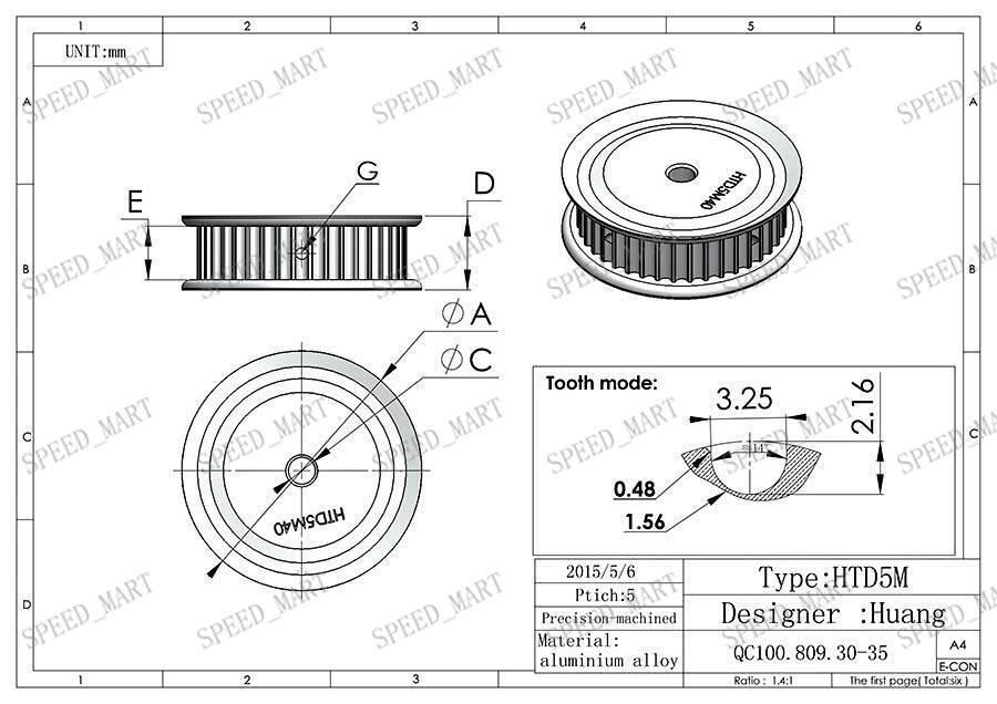 5m htd5m aluminum timing belt pulley 40 teeth 14mm bore 16mm width stepper motor