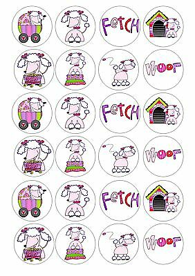 24 Poodle Dog Wafer / Rice Paper Cupcake Topper Edible Fairy Cake Bun Toppers