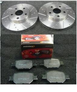 Toyota-Celica-1-8-Vvti-140-2002-2006-perforados-Ranura-Frontal-Disco-De-Freno-Mintex-almohadillas