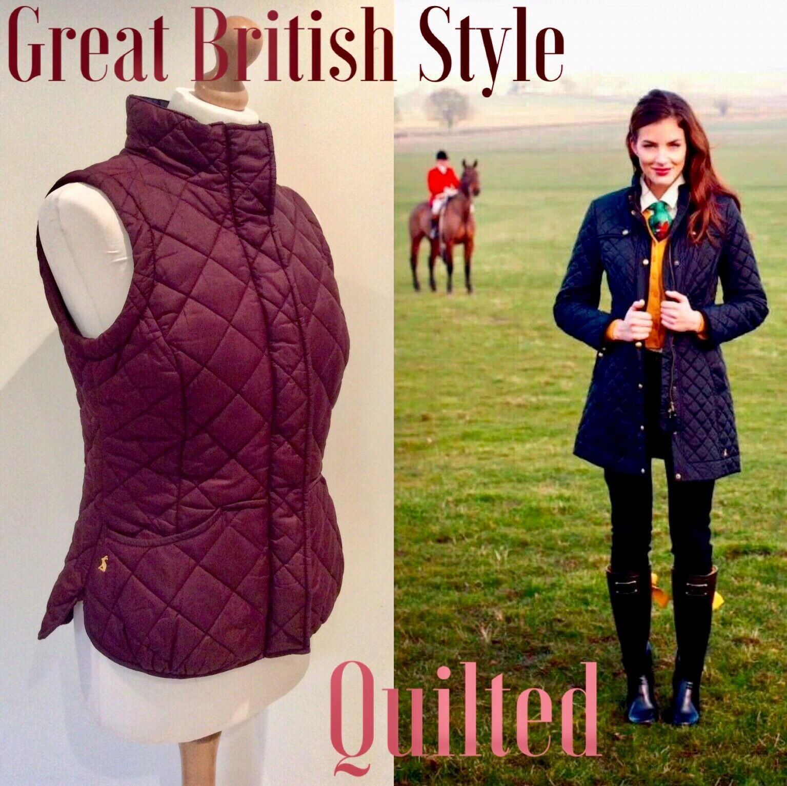 JOULES GILLET QUILTED BURGUNDY SIZE 10 ZIP POPPER HORSE PRINT LINING EQUESTRIAN