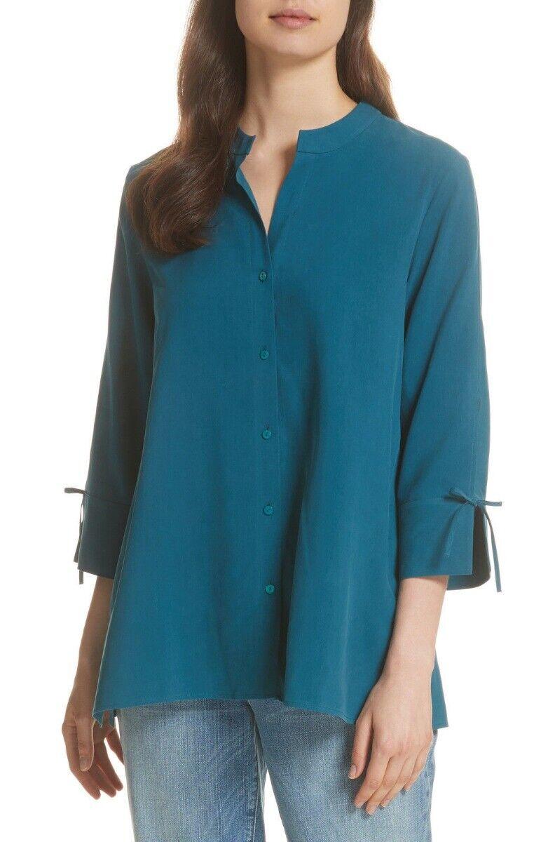 Eileen Fisher Fuji Silk Stand Collar Shirt Dark Jewel S NWT