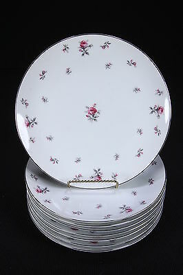 "8 Rosechintz Meito Japan Dinner Plates Unused 10 1/8"" Diam Pink & Gray Roses"