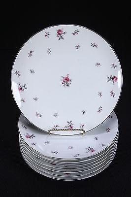 "8 Rosechintz Meito Japan Dinner Plates Unused 10 1/8"" Diam Pink & Gray Roses"