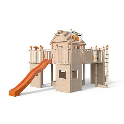 ISIDOR Fort Fox Spielturm Baumhaus Ritter-Burg  XXL Rutsche Rampe 1,50 m Podest