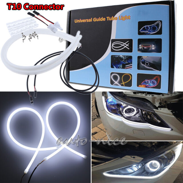 2x White Amber LED Switchback Light Strip 30cm Car Sidelight Indicator Lamp Daytime Running Light DRL Universal Fit