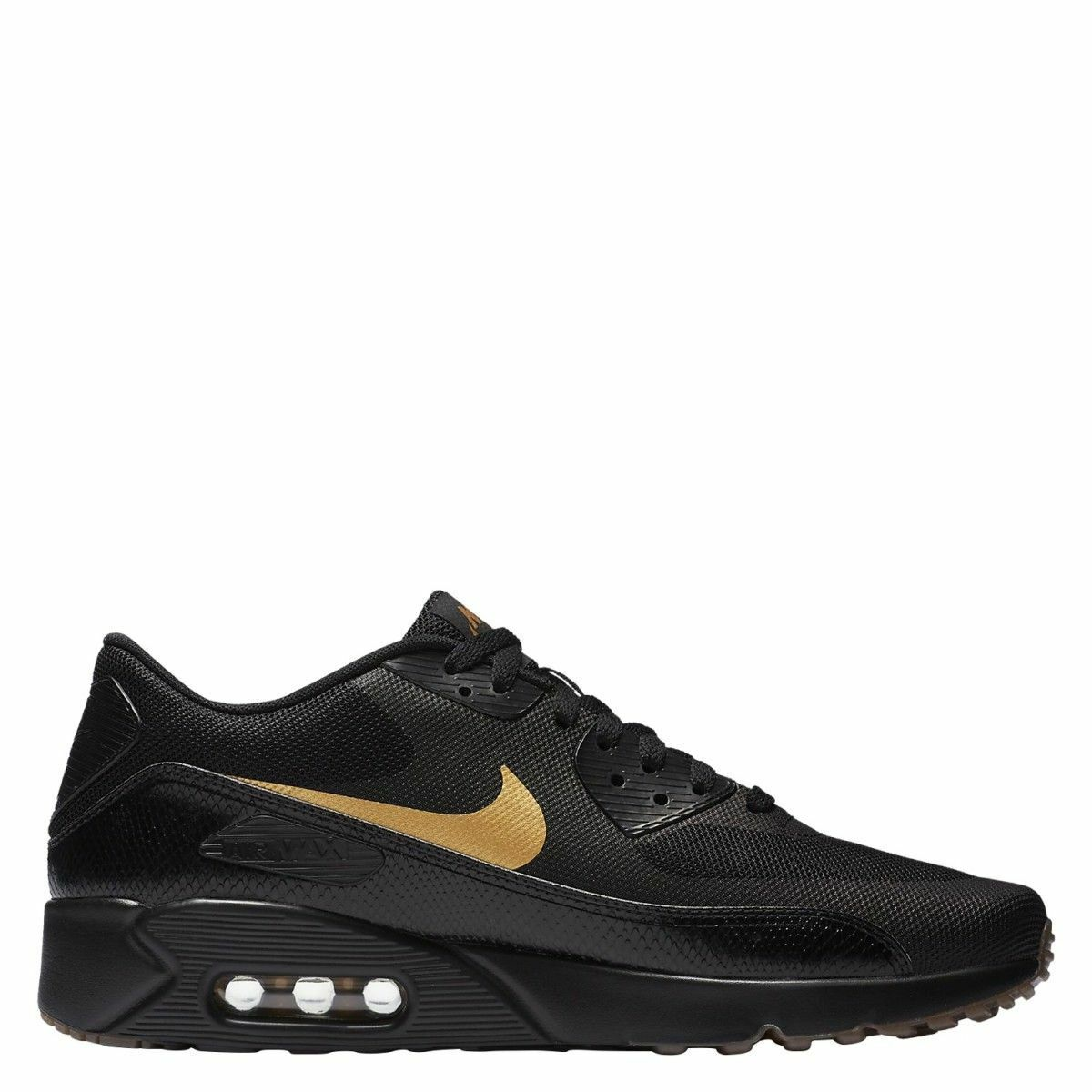 NIKE AIR MAX 90 ULTRA 2.0 ESSENTIAL 875695-016 BLACK METALLIC gold Mens Sz 10