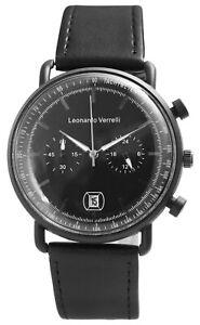 Leonardo-Verrelli-Herrenuhr-Schwarz-Kunstleder-Datum-Chrono-Look-X2900207002