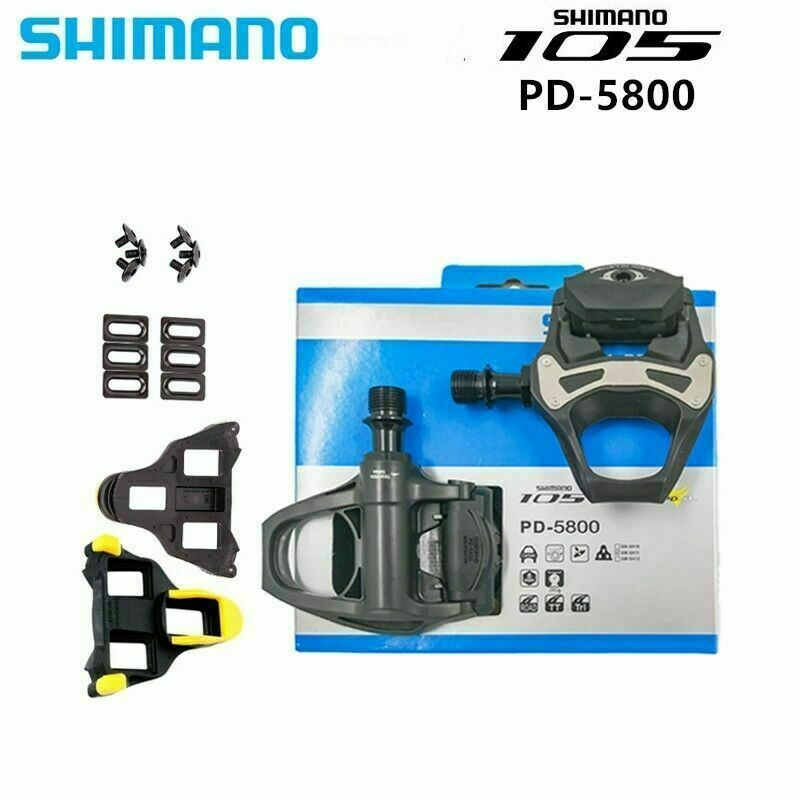 Set Shimano 105 Carbon SPD-SL PD-5800 Clipless Road Bikecycle Pedal Cleats Pedal