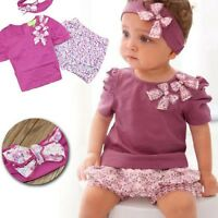 Baby Girls Outfit Set Top Shorts Tights Headband 6 9 12 18 24 Months Purple