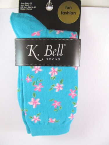 K.Bell Bright Turqoise Pink Flower Blossoms Cotton Ladies Crew Socks New