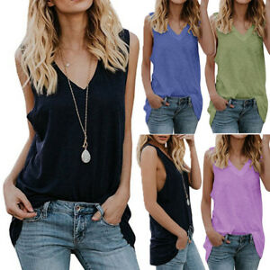 604191f7ac9092 Womens Sleeveless Tank Tops Vest V Neck Casual Loose Fit Blouse ...