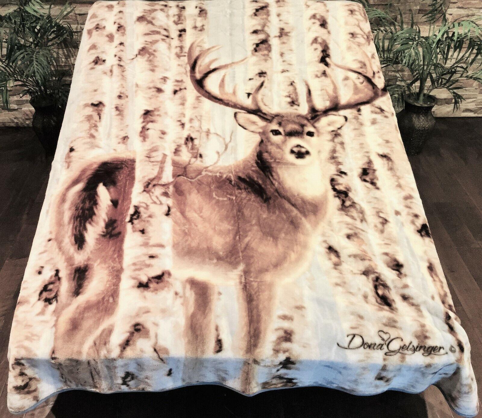 ☀️NEW  79x96 Luxury MEDIUM Weight Queen Blanket Deer w  Antlers in Woods