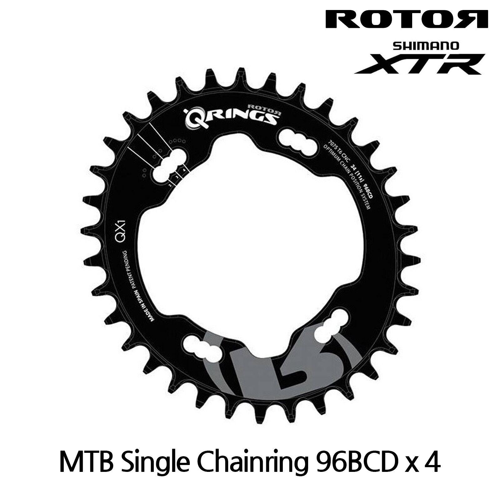 redOR MTB qrings Oval Single Chainrings QX1 Shimano XTR, 96BCD X 4 - 36T