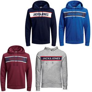 Jack-amp-Jones-Core-Sweat-a-capuche-homme-logo-imprime-avec-cordon-de-serrage-a-capuche-L-S-Pullover