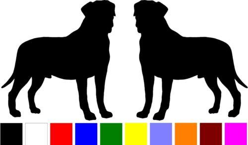 2 BULLMASTIFF DOG BREED droite gauche Silhouette Vinyl Decals Stickers