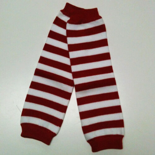 One Size Fits All White Stripes USA SELLER BABY LEG WARMERS W003 Red