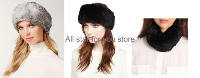3a05afea824 Surell Women s Real Fur Convertible Rabbit Fur Headband Collar Neck warmer  Black