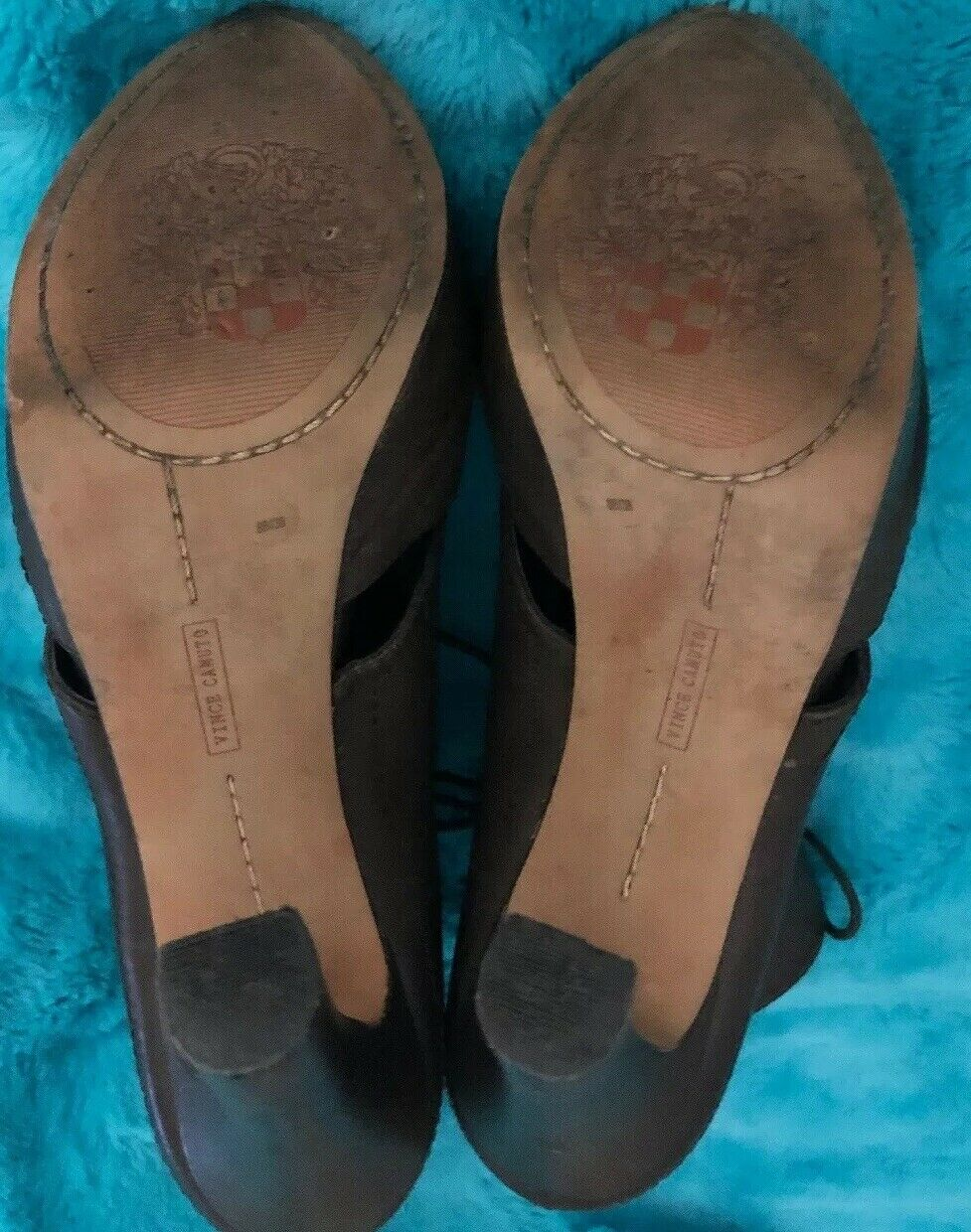"VINCE CAMUTO CAMUTO CAMUTO Brown Leather-Lace Up-Zip Back-Peep Toe-5""Ankle Boot-Size 8M 38 ef67fd"