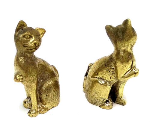 2 x Standing Cat Miniture Brass figures cast in India
