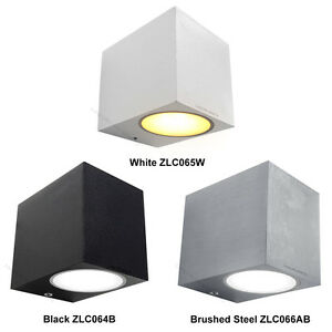 Modern led stainless steel mini cube single outdoor wall light lamp image is loading modern led stainless steel mini cube single outdoor aloadofball Image collections