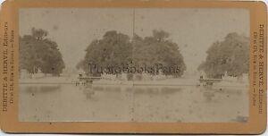 Giardino Dei Tuileries Parigi Francia Stereo Vintage Albumina Ca 1870