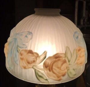 ANTIQUE-EMBOSSED-RIBBED-SATIN-GLASS-6-3-4-034-Wide-REVERSE-PAINTED-LAMP-SHADE