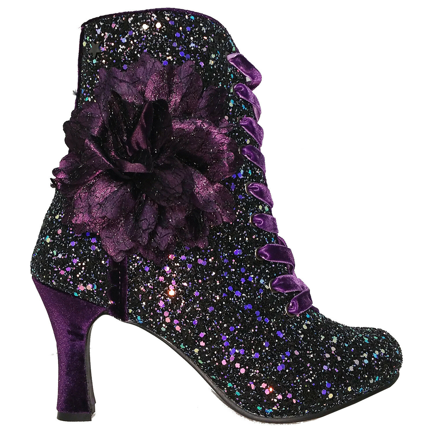 Joe marrons Rebel Violet Paillette Velours Lacet Fleur