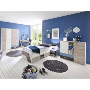 Komplett Jugendzimmer Kinderzimmer Set Bett Kleiderschrank Kommode