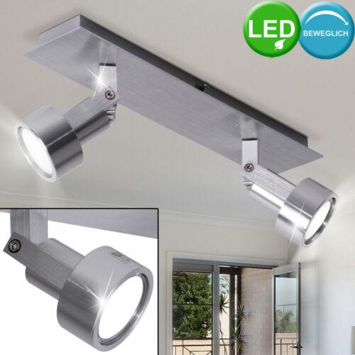 LED Decken Lampe Chrom Strahler Wohn Ess Zimmer Spot Leuchte schwenkbar silber