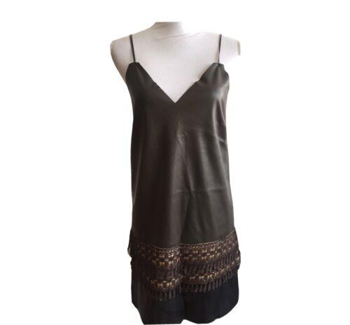 Vegan leather khaki dress