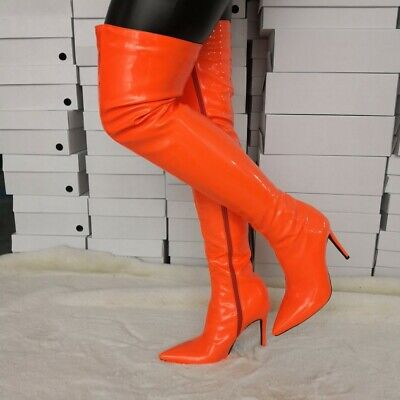 Womens Pointed Toe Lace Up Thigh High Boots Clubs Dance Boots High Heel Big Shoe