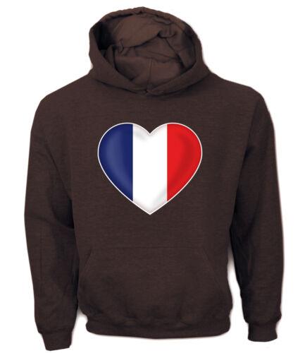Hoodie  Herz Heart FAN FLAGGE FAHNE Frankreich France Paris Marseille Fußba