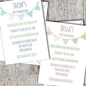 first holy communion invitations personalised boy girl bunting