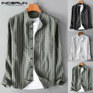 Retro-Hommes-Chemise-a-rayures-vintage-Papa-sans-col-boutonne-Tee-shirt-hauts