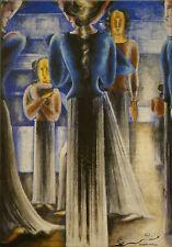 Tarjeta de arte/Postcard tipo Bauhaus Oskar Schlemmer-mujeres azules