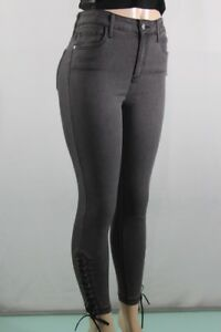 GUESS-JEANS-NEW-WOMEN-039-S-LACE-DOWN-CURVE-SKINNY-JEANS-SZ-27-BLACK-OFF-STRETCH