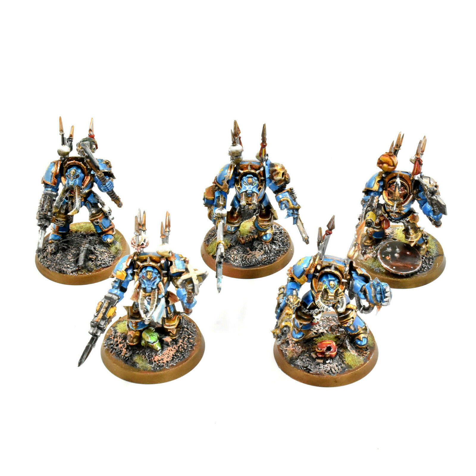 CHAOS SPACE MARINES 5 Terminators Tzeentch  1 WELL PAINTED terminator squad 40K