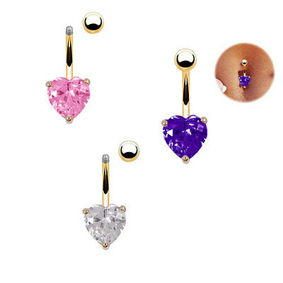 Navel Ring Gold P PU Plated Belly Rhinestone Bar Heart Star Body Piercing Clear