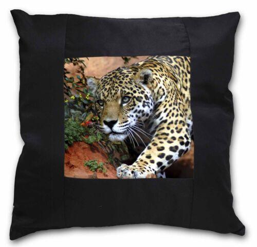 AT-4-CSB Jaguar Black Border Satin Feel Cushion Cover With Pillow Insert