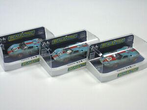 Scalextric Slot Car Bundle Ford Gt40 Gulf Racing Bundle Weathered 1:32 Nouveau