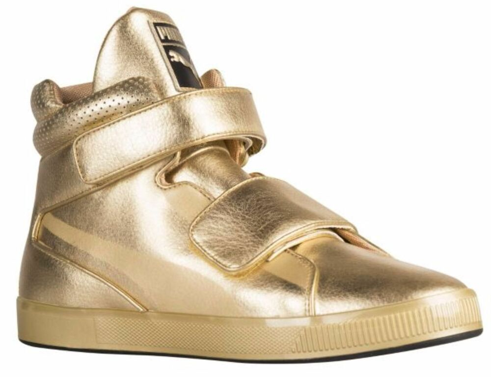 SZ 10 Metallic Gold Puma Hightops Apex Basketball Team homme Gold Strap 361825-01