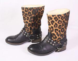 192f103d02fc4c Das Bild wird geladen S28-Damen-Biker-Boots-Stiefel-Leder-schwarz-braun-