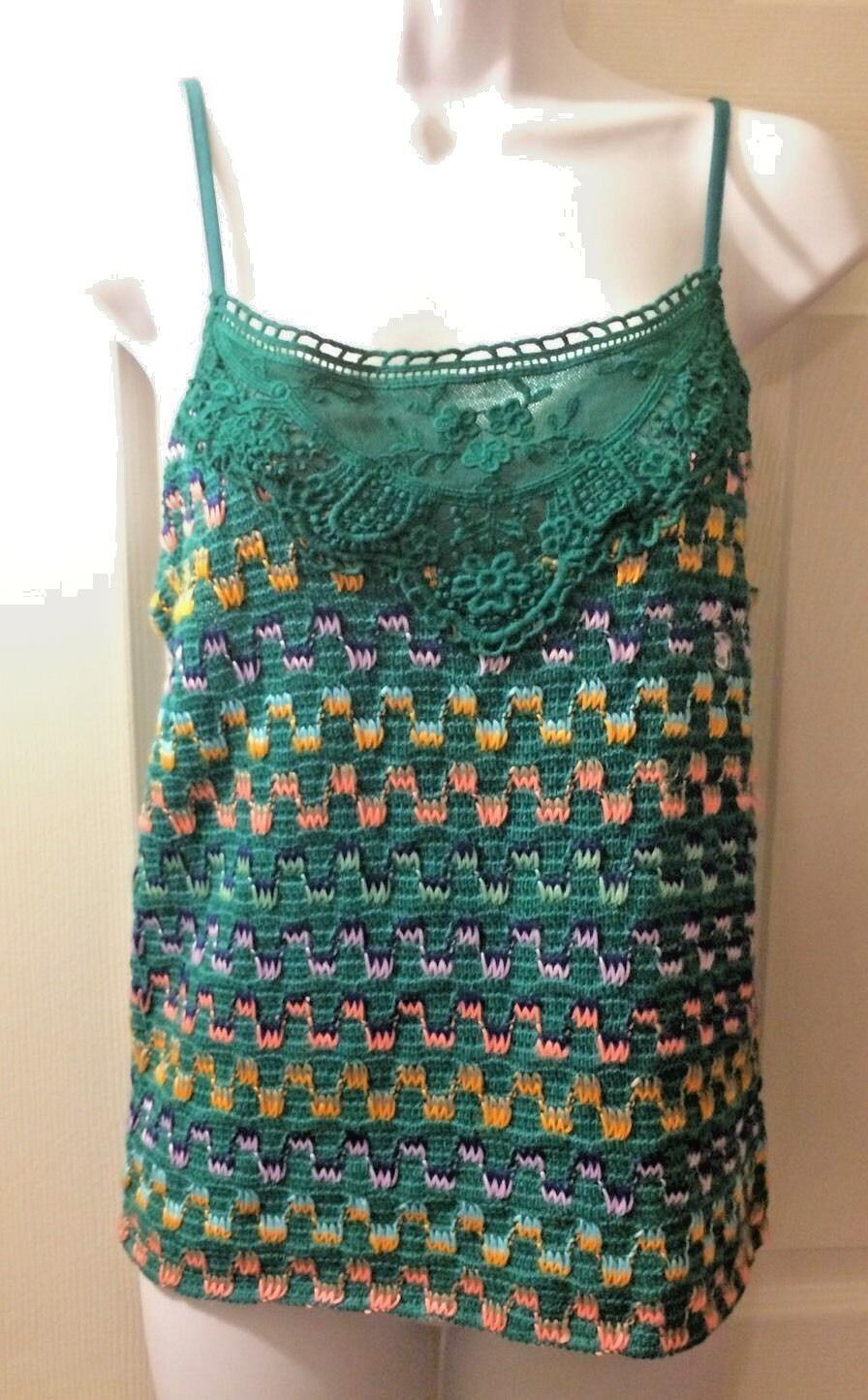 New Women's FREE PEOPLE Tank Top Heartbeat Rochelle Jade Crochet Knit Shirt Sz M