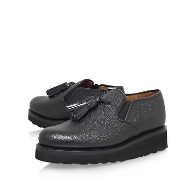 NEW GRENSON £200 BLACK LEATHER SLIP ON SHOES / CREEPERS  UK 5 / 7   EU 38 / 40