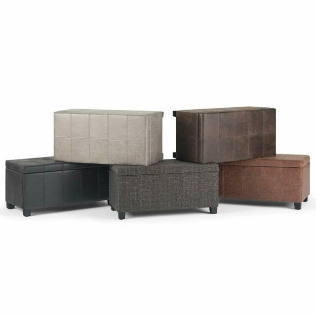 Storage Ottoman Bench Faux AirLeather Upholstery Solid Wood Frame Top Lift Hinge