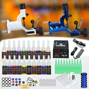 Tattoo-Kit-Supplies-Set-2-Rotary-Machine-Gun-20-Color-ink-Needle-Power-Tip-Grip