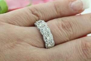3-ct-Round-Diamond-14k-White-Gold-Over-5-Stone-Engagement-Anniversary-Band-Ring